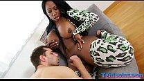 Ebony shemale fucking with horny white partner on sofa