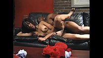Ebony babe Santaj with small breasts gets plowed with BBC indoors then face creamed