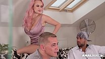 Anal inspectors double penetrate busty bombshell Angel Wicky for cumshots