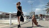Petite naked blonde walked in public