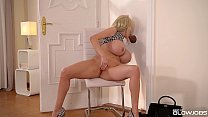 Blonde Nympho Sandra Star Finds Glory Hole in the Meeting Room