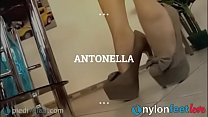 Teen takes off her high heels and shows feet in Pantyhose