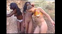 Lil baby plays with her teenie friends outdoors