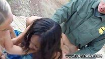 Ebony cops come Amateur Threesome for Border Slut