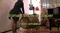 Woman show in diaper video amateur