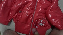 Cum on my Girlfriend's Shiny Nylon Jacket