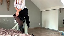 business woman after work strip and riding the cock