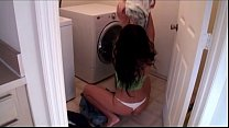Mom sucks son's dick in laundry room