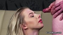 Wicked bombshell gets cum shot on her face gulping all the jism