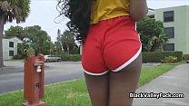Juicy black teen loves a fat white dick