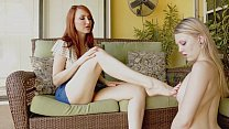 Foot Girl Worships Boss Poolside with Lily Rader and Kendra James