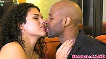 Gorgeous tranny gets interracially pounded