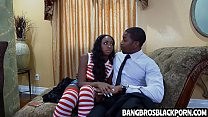 Naughty black teen gets aroused looking at her stepdad in the shower
