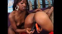 Two cute teen black hotties Hydie Waters and Taylor Starr tongue each others' pussies and fuck sex toy