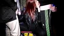 Tara Teas dogging in leather jacket