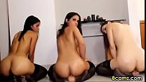 3 Sluts riding dildos live on webcam