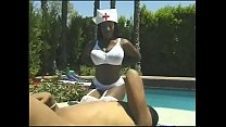 Nurse in white stockings seduces black dude sunbathing by the pool to fuck her