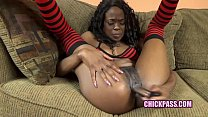 ChickPass - Ebony wife Melody Cummings fucks her twat with a shiny toy
