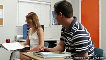 InnocentHigh Cute teen rides cock in the classroom