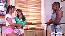 Gym Fuck Makes Amy Wild & Savannah Secret Suck Big Black Dick