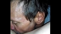 Licking shaved pussy