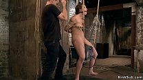 Bound slave rides Sybian in the air