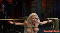 Flogged busty teen roughfucked in BDSM hostel