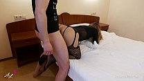 Young lover sucked and fucked in a hotel - Ass in pantyhose