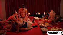 Horny swingers swap partner and orgy in the red room