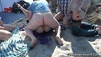 Slutwife Marion bareback gangbang on the beach in Summer 2016