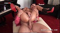 Slutty redhead gets her ass fist and cock fucked brutally