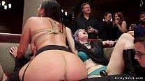 Hot slaves anal banging in orgy bdsm