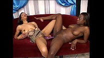 Hot black sluts Destiny Day and Crystal Blue lick and play with each other's pussies then use double dildo