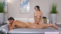 Teen gives her stepdad full nuru massage