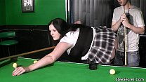 Cheating with BBW in fishnets on pool table