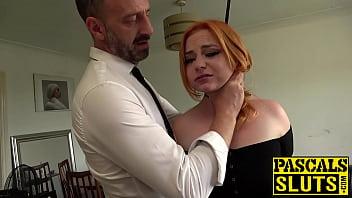Busty redhead Harley Morgan chokes on cock before rough plow