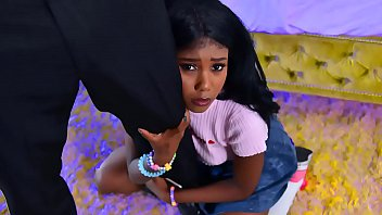 Tiny black step daughter pleases her horny stepdad