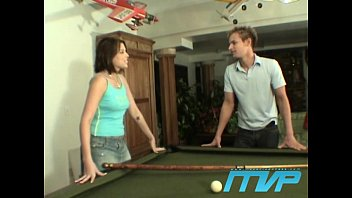 Brunette bet's her pussy on a game of pool