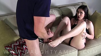 Home alone with my step brother he cums on my feet - Amiee Cambridge